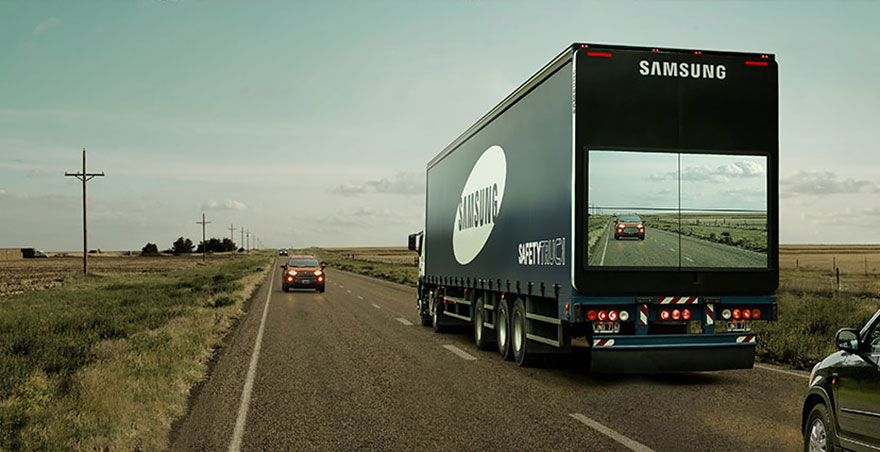 Semi Truck trailer with driver and full screen
